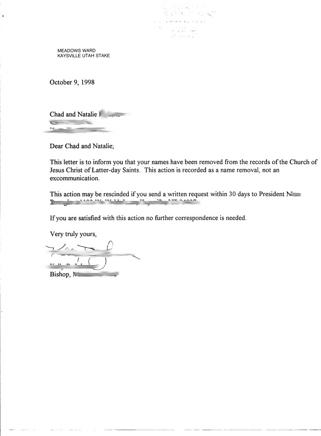 Name Removal Letter
